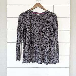 Boden Grey and Black Floral Long Sleeve Tee 10